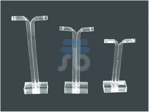 Clear Acrylic Jewelry Display T Stand for Stud, Dangle, Hoop Earrings, Pack of 3 (Square Base)