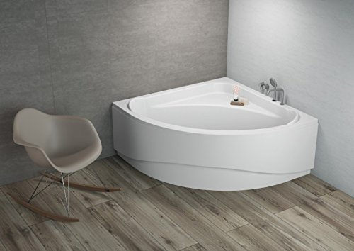 ALB Komfortable Eck Badewanne-Acryl 140x140x580 inkl. Wannenfuß und Ablaufgarnitur, Schürze:mit Schürze
