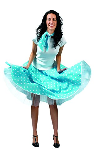 TH-MP 50er 60er Jahre Rock´n Roll Rock Tellerrock Rockabilly Kostüm Damen Outfit Zubehör Karneval Fasching (türkis-weiß)