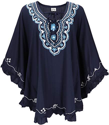 GURU SHOP Poncho hippie bordado, túnica, caftán, vestido de playa, talla grande, para mujer, gris, sintético, talla única, blusas y túnica, ropa alternativa azul oscuro Tallaúnica