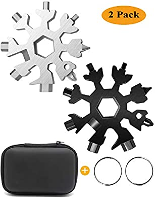 18-in-1 Snowflake Multitool, Stainless Steel Snowflake Tool Card 18-in-1 Multi-Tool Card Compact Snowflake Tool Multi Instrument Snowflake Tool