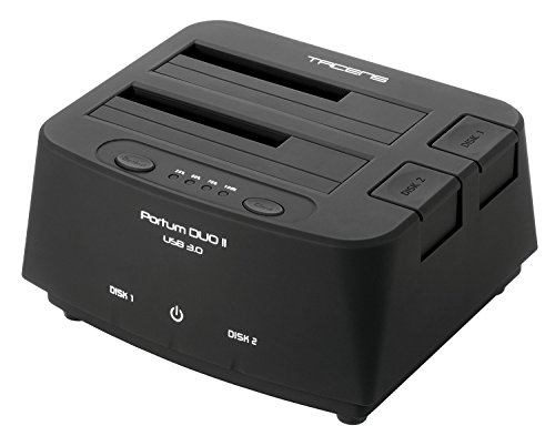 Tacens 5PORTUMDUO2 - Base de conexión Docking Station (USB 3.0, optimizado para 2 discos duros, Botón OTB, sistema de clonación) color negro