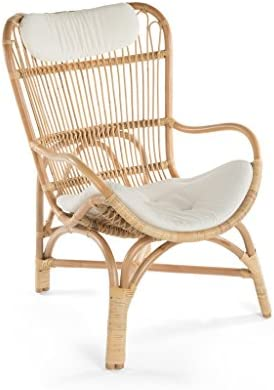 Best KOUBOO Rattan Loop Lounge Chair with Seat and Head Cushion, Natural Color, Large,
