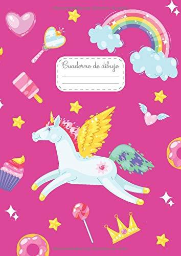 Cuaderno de dibujo: Libreta A4 unicornio para niñas - 100 ojas blancas