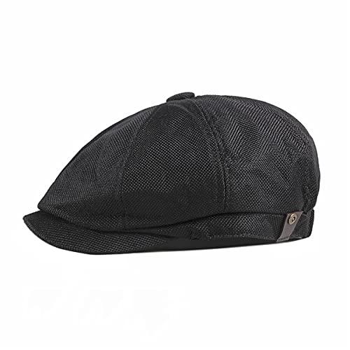 CusGifta (Negro) Gorra Plana de algodón para Hombre Newsboy Cap con Banda...