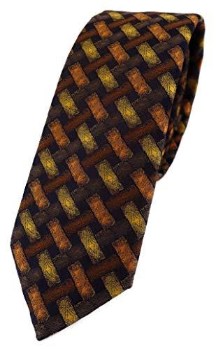 TigerTie schmale Designer Krawatte in orange gelb braun schwarz - Motiv Flechtmuster