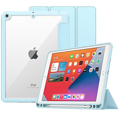 MoKo Funda para Nuevo iPad 8ª Generación 2020 iPad 7ª Gen 10.2' 2019/iPad 10.2, Protectora de TPU + PC con Soporte de Apple Pencil con Función de Auto Estela/Sueño para iPad 10.2 Tableta, Azul Claro