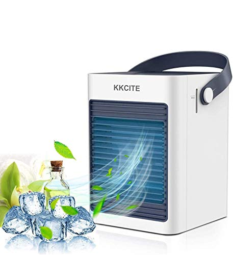 KKCITE Refrigerador de aire portátil, purificador de aire acondicionado, mini ventilador de evaporación silencioso, aire acondicionado móvil, ventilador de control táctil de 3 velocidades