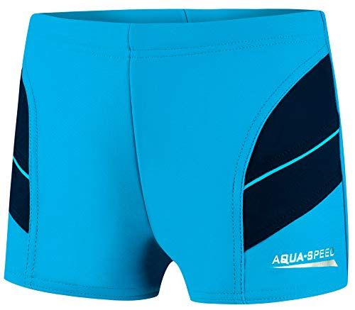 Aqua Speed Boxer Badehose kurz Jungen + gratis eBook   Jungs Schwimmhosen   UV Kinderbadehose   Schwimmbekleidung   24. Blau Navy Gr. 134   Andy
