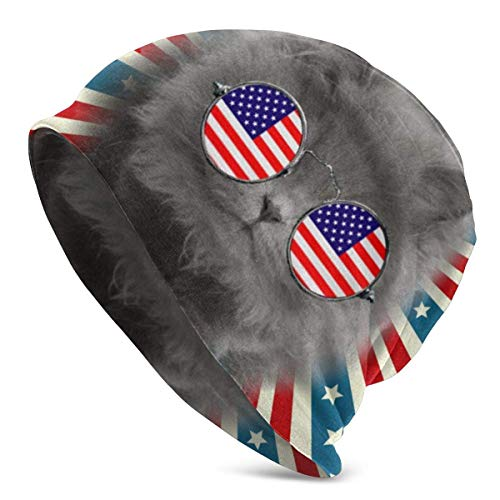 Gorro Hombres Mujeres Causa Soy 'Bandera Americana Gato Cráneo Cálido Sombrero de Punto Unisex Slouchy Soft Headwear Gorro con puño