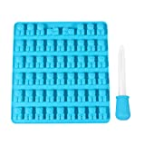 DOITOOL Molde de silicona para repostería, 53 cavidades, diseño de oso de chocolate, molde de silicona para gelatina, galletas, cubitos de hielo (azul cielo, con gotero)