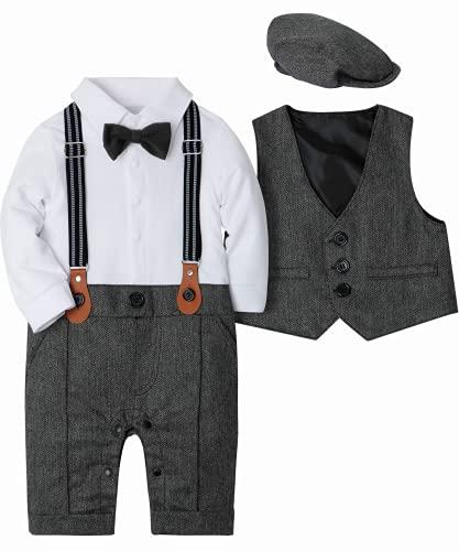 SANMIO Baby Jungen Bekleidung Set, Taufe Junge 3tlg with Fliege + Weste + Hut Gentleman Langarm Anzug Outfit für Festlich Geburtstag Hochzeit, 6-9 Monate(Körpergröße 70), Grau