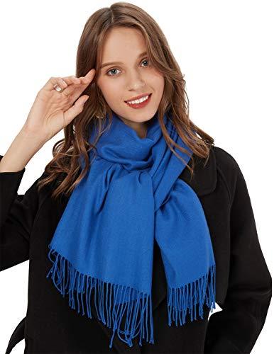 MaaMgic Schal Damen Warm Herbst unifarben Baumwolle mit quasten/fransen, 40+ Farben Einfarbig & Kariert Pashmina xl Schals Stola MEHRWEG Königsblau