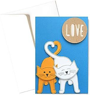 Cat in love - love - cuore - festa degli innamorati - biglietto d'auguri (formato 15 x 10,5 cm) - vuoto all'interno, ideal...
