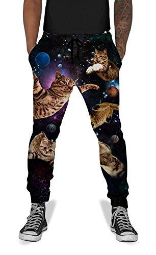 Men Women Cat Sweatpants Cool Graphric 3D Printed Funny Space Sports Jogging Pants XL