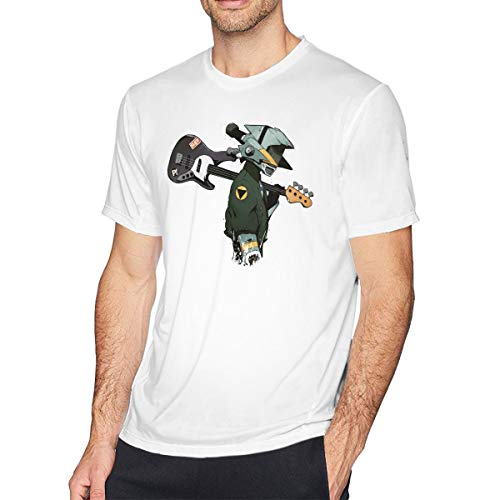 Not Applicable Man's FLCL Naota Guitar Short Sleeve T Shirt Tee Casual Blouse Tunic Tops White
