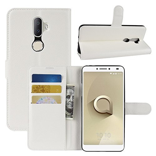HualuBro Alcatel 3V Hülle, Leder Brieftasche Etui LederHülle Tasche Schutzhülle HandyHülle [Standfunktion] Handytasche Leather Wallet Flip Hülle Cover für Alcatel 3V (Weiß)