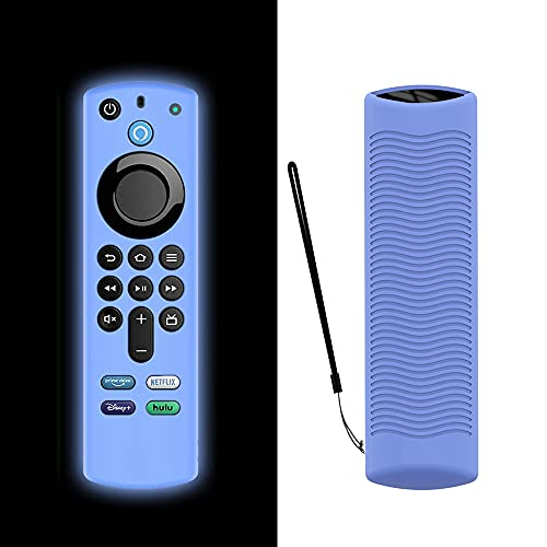 TAOCHEN Funda de Silicona para Alexa Voice Remote (3.a Generación) (Versión 2021) - Funda Luminosa de Protección Completa a Prueba de Golpes para Fire TV Stick (2021) Control Remoto (Azul Luminoso)
