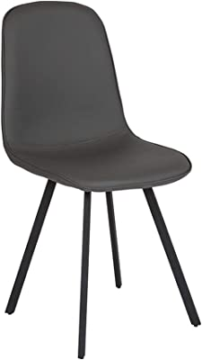 Offex Contemporary Vinyl Padded Dining Chair   Light Gray