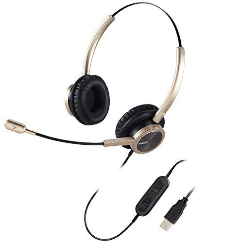 USB Headset mit Mikrofon Noise Cancelling Dual, PC Kopfhörer Overear für Computer Laptop Büro CallCenter Homeoffice Business Softphone Teams Skype Chat Telefon Konferenz Webinar Dragon Nuance Diktat