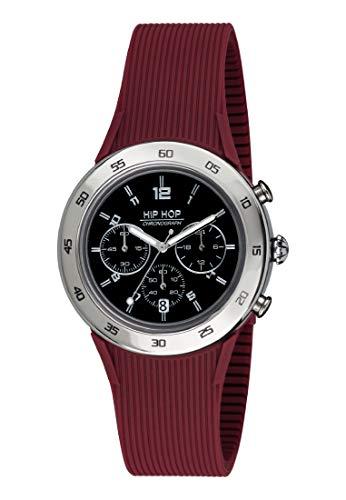 Orologio HIP HOP uomo METAL quadrante nero e cinturino in silicone, metallo bordeaux, movimento CHRONO QUARZO