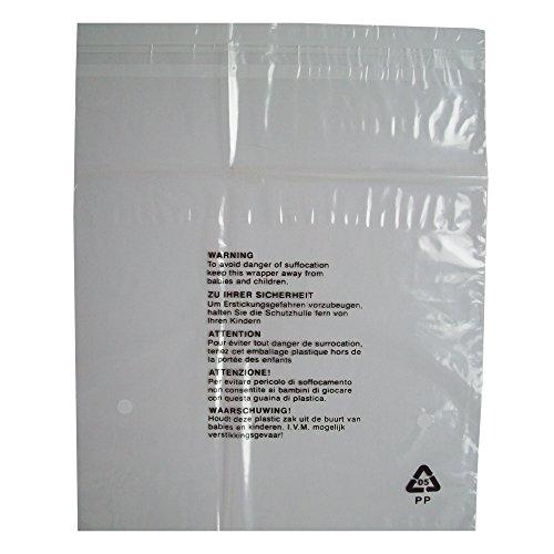 Foliezakken voor textiel, transparant kunststof, zelfklevend, detailhandelverpakking voor kleding, met veiligheidsaanwijzing, maat S, 250 x 300 mm, dikte 38 μm, polypropyleen, 100 stuks