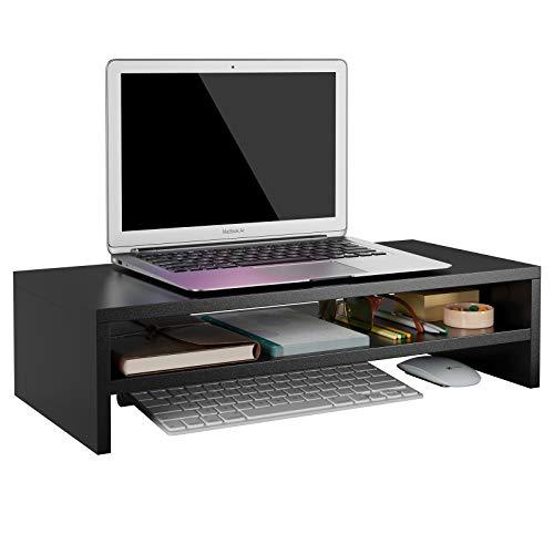 HOMFA Soporte de Monitor Elevador de Pantalla Organizador para Escritorio Ordenador con Almacenamiento Negro 54X25.5X14cm
