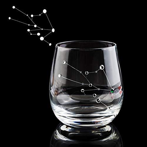 Roovtap Constellation Weinglas 325ml Fruchtsaft Bier freie Gläser mit Strass Whisky-Glas Trinkgefäße for Hochzeiten Partei (Color : Taurus)