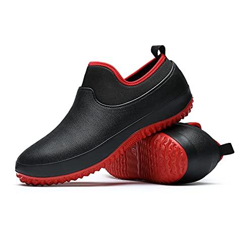 ZhongXinZe Unisex Waterproof Garden Shoes Womens Rain Boots Mens Car Wash Footwear Camp Booties for Camping Gardening and Yard Work Black