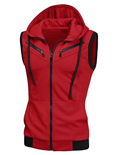 uxcell Men's Sleeveless Slim Fit Hoodie Vest Zipper Drawstring Gilet Jacket with Pockets Red 46