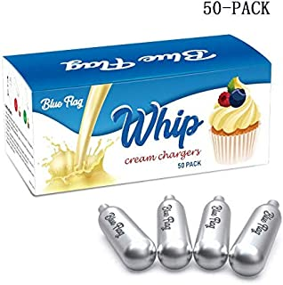 Blue Flag Whipped Cream Chargers N2O Nitrous Oxide 8-Gram Cartridge for Whipper Whipped Cream Dispenser (50 Packs)