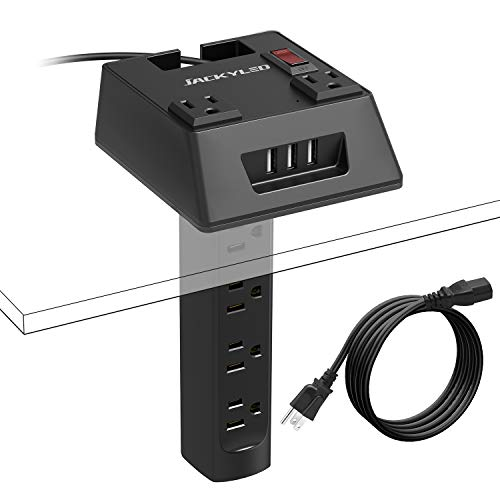 Table Mount Power Strip Recessed Power Bar Under The Table JACKYLED Detachable 2 in 1 Combined Charging Station with 6 AC Outlets 3 USB Ports Hidden Extension Block for Desktops Cabinets and Counters