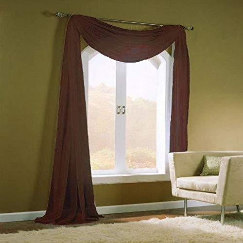 Onderhoudsvriendelijke stoffen Sheer Window Sjaal Panel Behandeling, 55 door 216-Inch, Chocolade