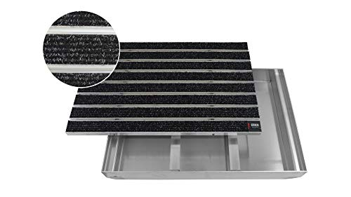 EMCO Eingangsmatte DIPLOMAT Large Rips anthrazit + ALU Bodenwanne Fußmatte Schuhabstreifer Fußabstreifer, Größe:1000 x 500 mm