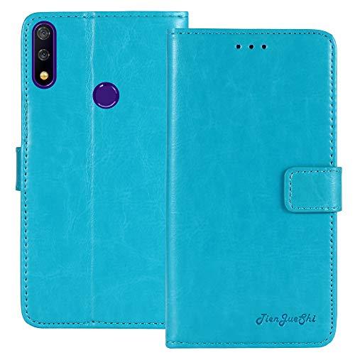 TienJueShi Blau Retro TPU Silikon Flip Book Stand Brief Leder Tasche Schütz Hülle Handy Hülle Für TP-Link Neffos X20 Pro 6.26 inch Abdeckung Wallet Cover Etui