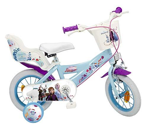 Kinderfahrrad Disney Frozen II - Die Eiskönigin 2 12 Zoll | Felgenbremse Trommelbremse Korb Puppensitz Vormontiert 3-5 Jahre