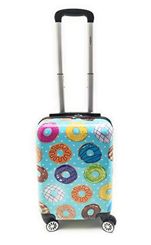 Trolley Bagaglio a Mano Ryanair Priority Abs Lucido con Disegno 8 Ruote Idoneo Cm.55x40x20 misure effettive cm.52x35x20 (BL095/1Ciambella)