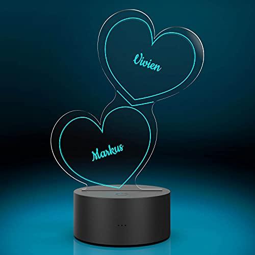 Personalisierte Herz-Leuchte mit Namensgravur | LED-Herz mit Namen und Farb-Lichtern als Geschenk-Idee | LED-Lampe mit Gravur| Deko Wohnzimmer | 7 Farben |...