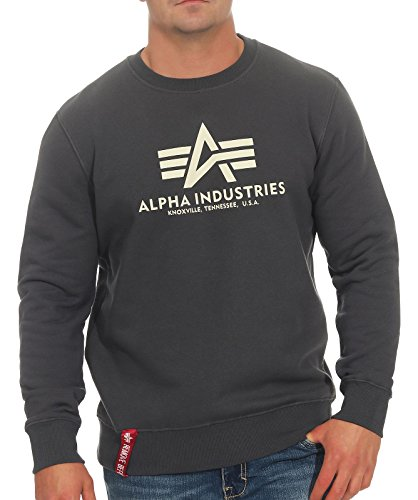 ALPHA INDUSTRIES Herren 178302 Sweatshirt, Greyblack, M Regular