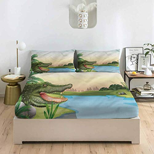 LCGGDB Reptile Full Size Bed Fitted Sheet Set,Ninja Turtles Dancing Kids Deep Pockets Fitted Sheet with 2 Pillowcase,Print Fitted Sheet Set for Kids & Adults Bedding