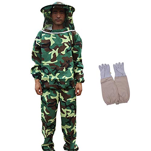Bee Keeper Outfit, Bee Keeping Gear, Beekeeping Suit Protective with Veil Hood (Jacket, Pants, Gloves) Camouflage