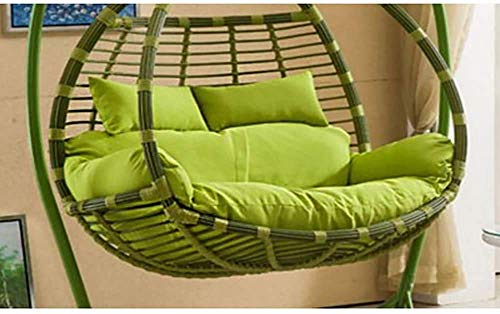 JBNJV Dickes Balkon Ei Nest Stuhl Pad, übergroße 2 Personen Sitz Hängematte Hängesessel Kissen, Korb Schaukel Sitzmatte für Patio Hinterhof Lawn Green 150x110cm (59x43inch)