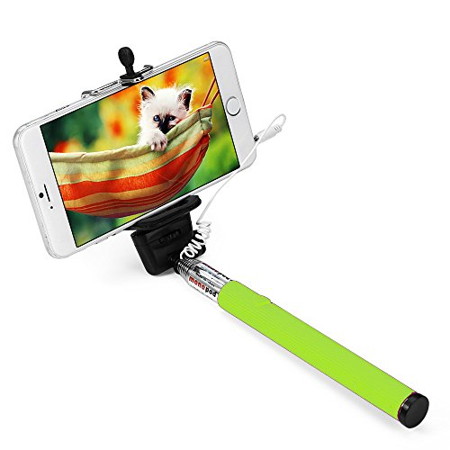Apsmart 40inch no battery aux cable wired Selfie stick for smart phone (Green)
