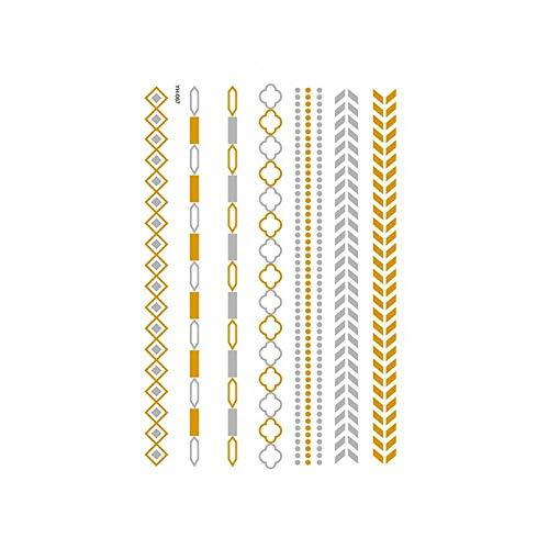 Autocollants de tatouage bronzage rétro autocollants de tatouage imperméables ensemble autocollants d'impression de couleur argent chaud-YH-067_148 * 210MM