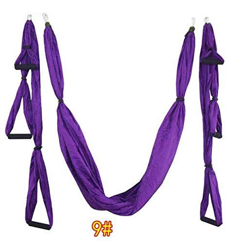 LIANQI 6 Asas Anti-Gravedad Yoga Hamaca Columpio Paracaídas Yoga Gimnasio Colgante Hamaca de descompresión de Ocio al Aire Libre - 9# Violeta