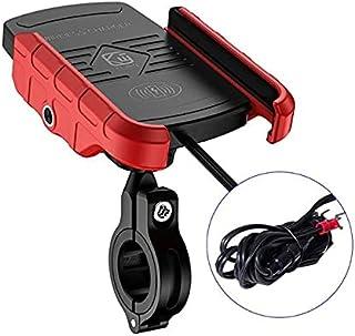 Yahunosu Mobiltelefonhållare trådlös laddare motorcykel telefonladdare 12–24 V trådlös snabbladdningsstativ dubbel öppen k...