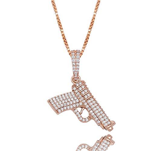 LILIMO Hip Hop Schmuck Anhänger & Halskette Glitzernde Pistole Anhänger Gefrieren Heraus Zircon-Halskette Art Und Weise Charme-Geschenk,Rose Gold
