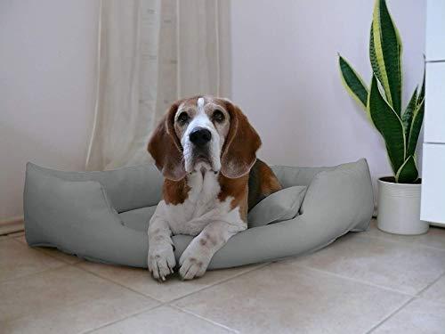 Artur Soja GABI Hundebett Kunstleder Eckbett Hundesofa Eckhundebett M L XL XXL (L - 100x100cm, Hellgrau)