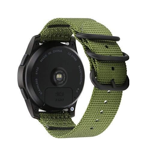 invella NATO Nylon Strap for Amazfit PACE/Amazfit Stratos 2/ Samsung Gear S3 / Huawei Watch GT/Magic Smartwatch (Navy Green - 22mm)