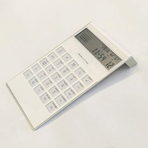 OMJNH Taschenrechner, ewiger Kalender mit Wecker Taschenrechner Werbegeschenk Büro 8-stelliger Computer für Bürostudenten geeignet,Weiß